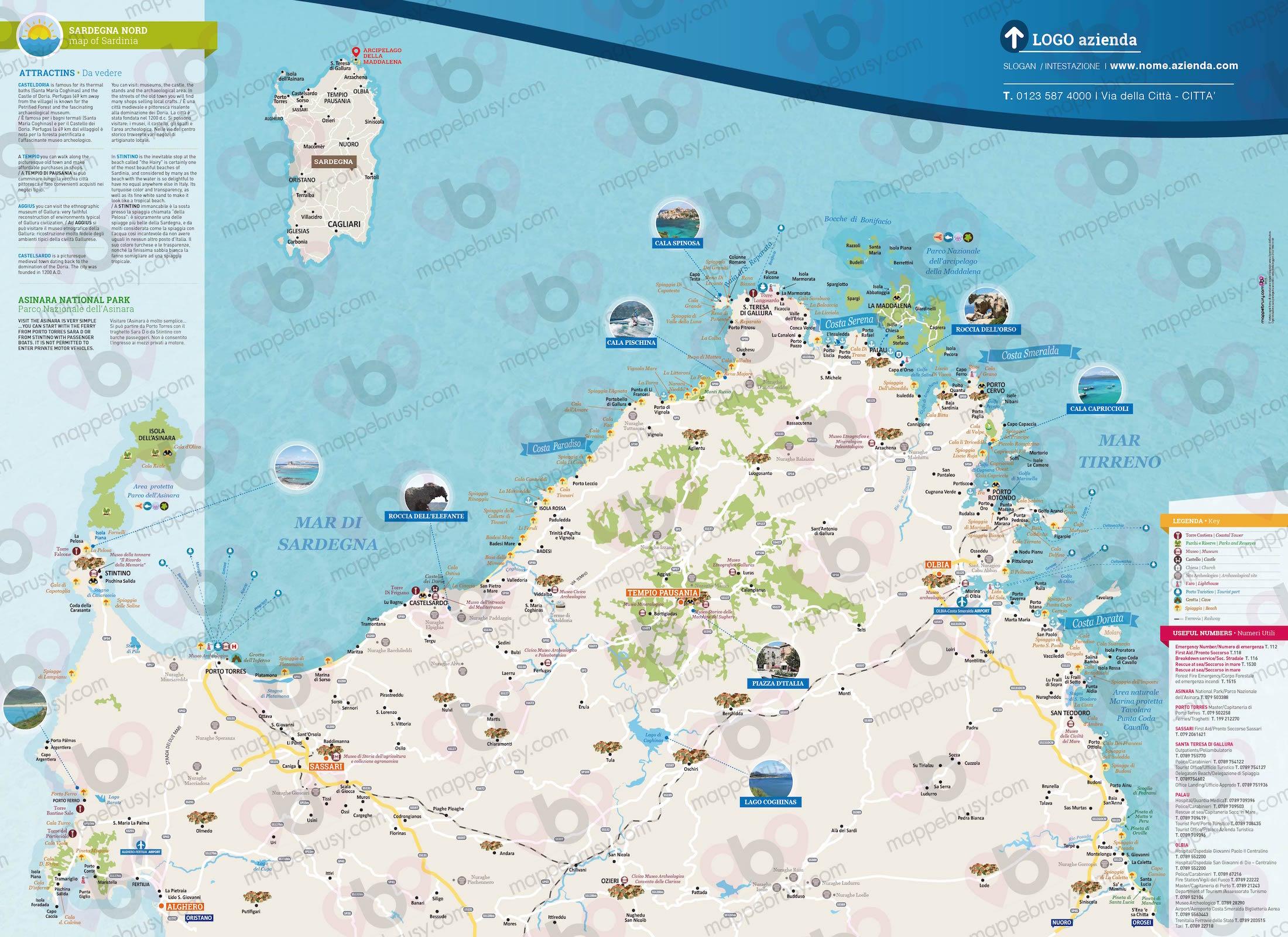 Cartina Nord Sardegna.Sardegna Nord Mappe Brusy