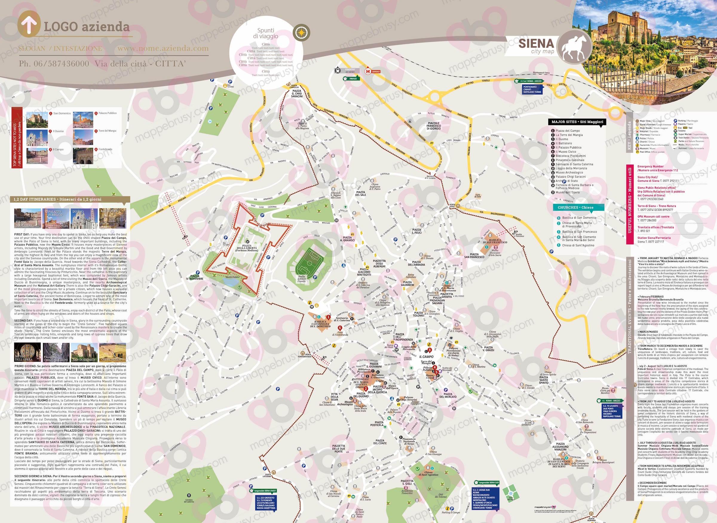 Centro Storico Cartina Geografica Roma.Siena Mappe Brusy