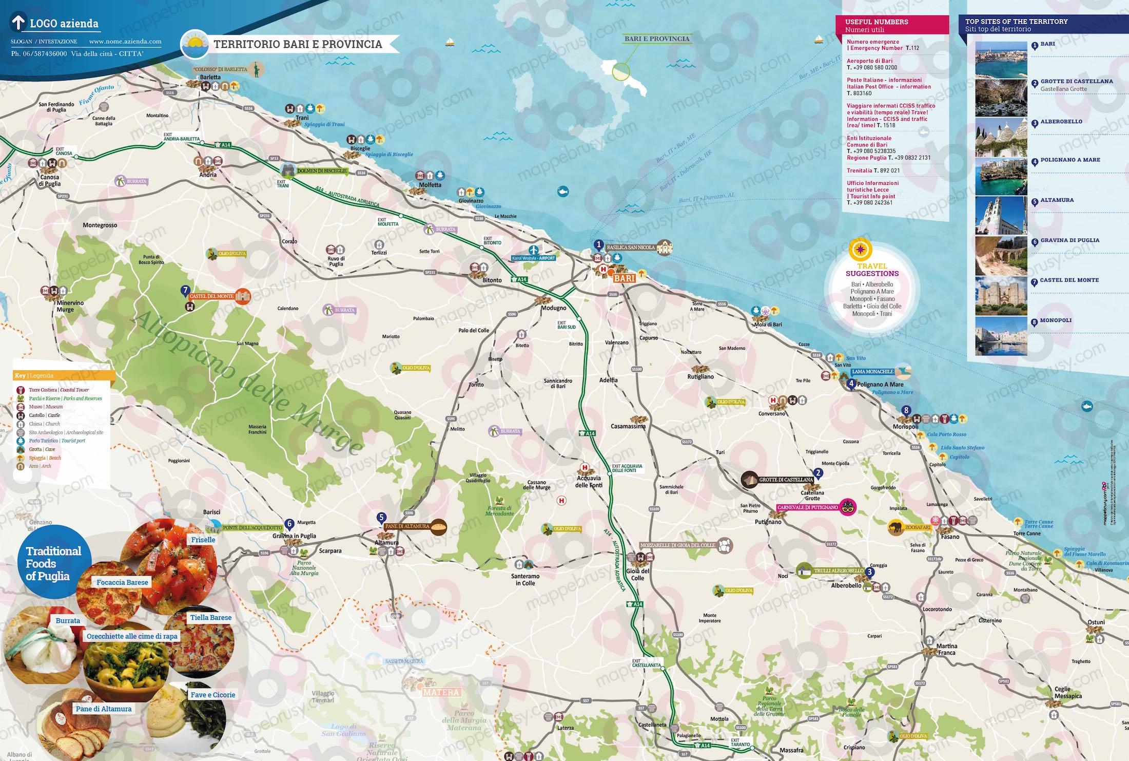 Bari Cartina Geografica.Bari E Provincia Mappe Brusy