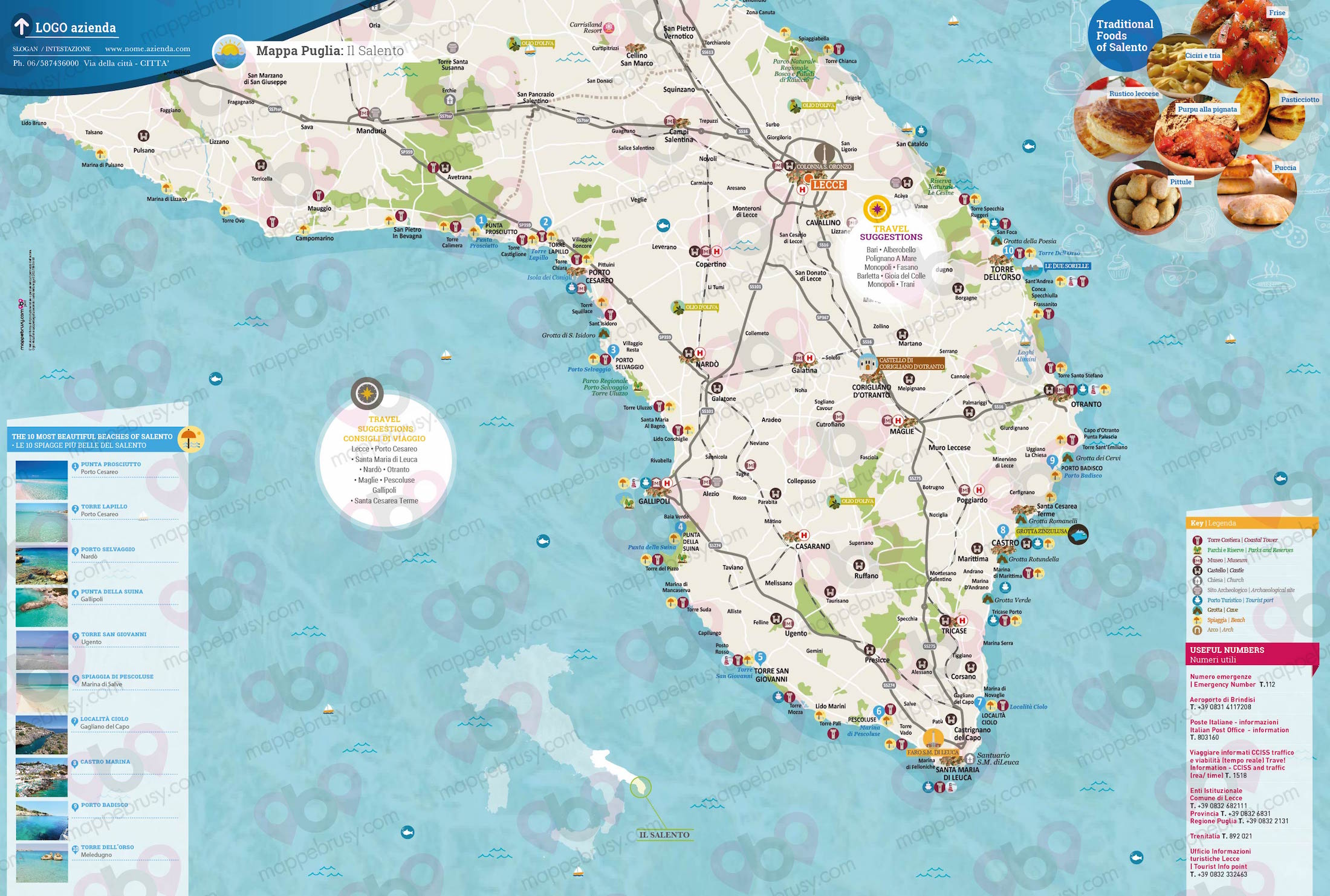 Salento Cartina Stradale.Il Salento Mappe Brusy
