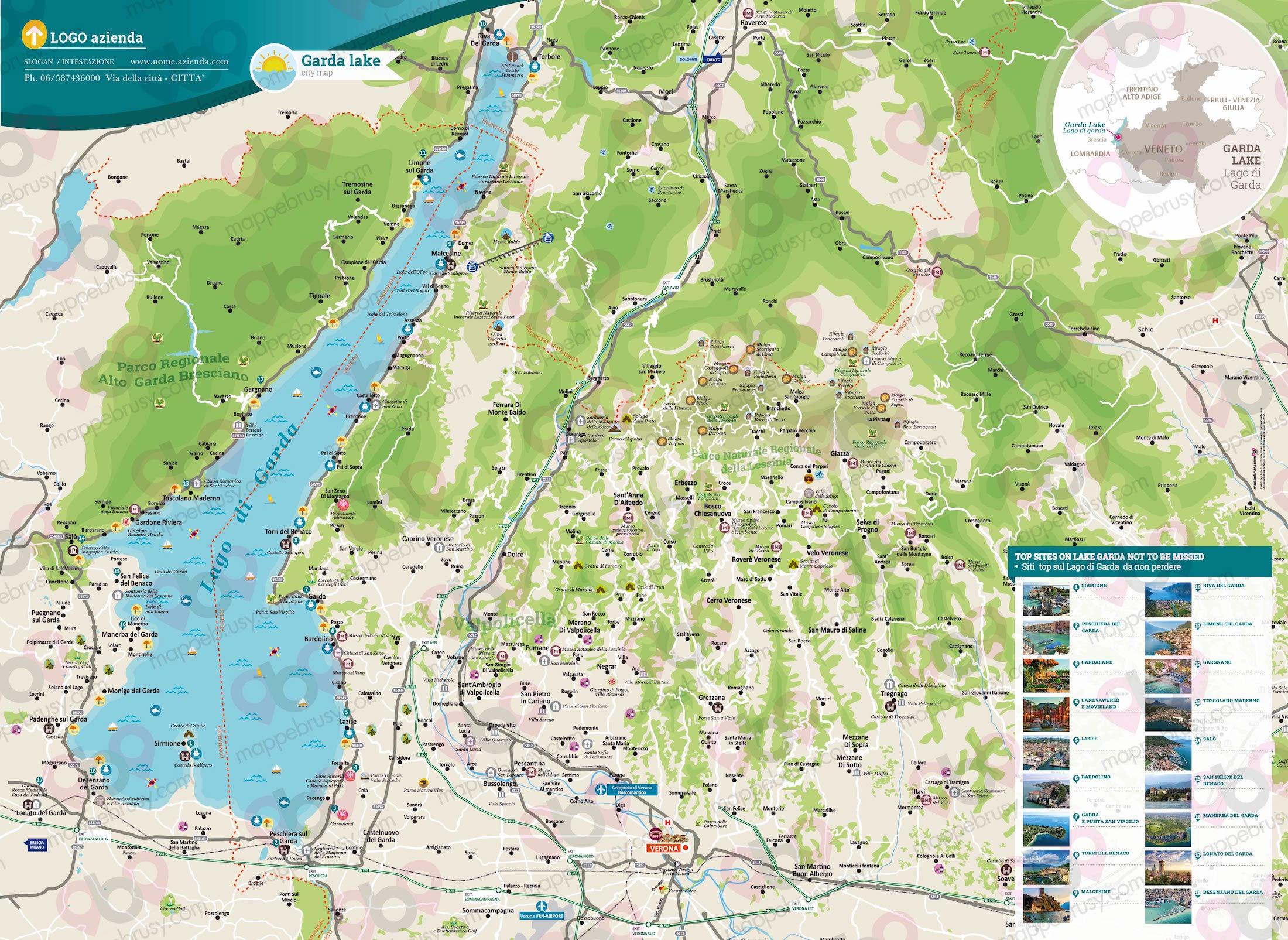 Cartina Stradale Lago Di Garda.Lago Di Garda Mappe Brusy