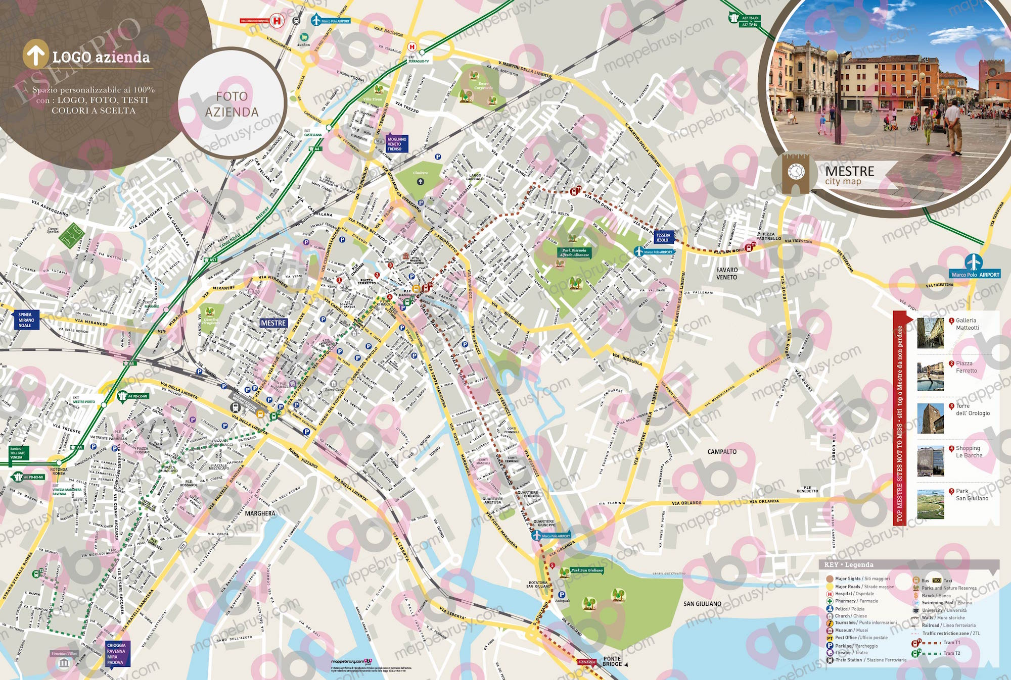 Cartina Venezia Centro Storico.Mestre Venezia Mappe Brusy