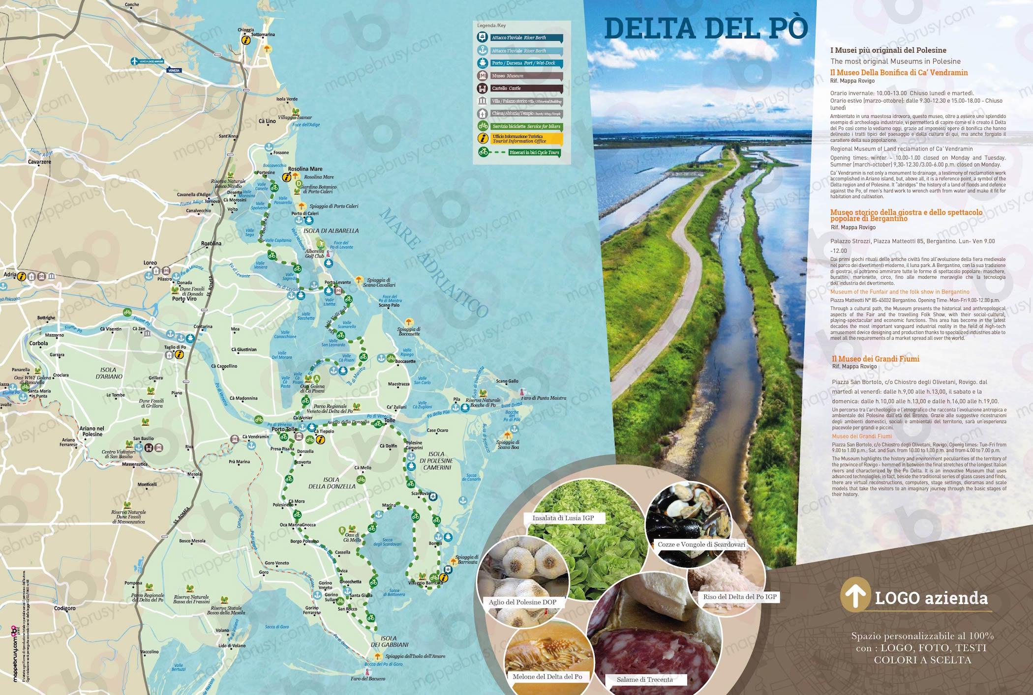 Cartina Del.Delta Del Po Ro Mappe Brusy