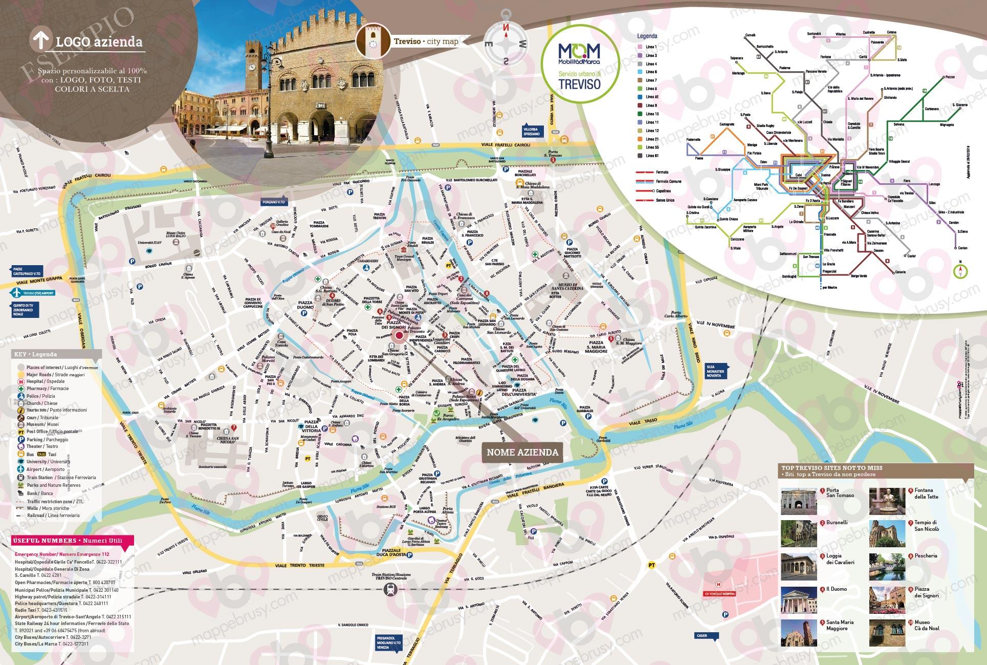 Cartina Veneto Treviso.Treviso Mappe Brusy